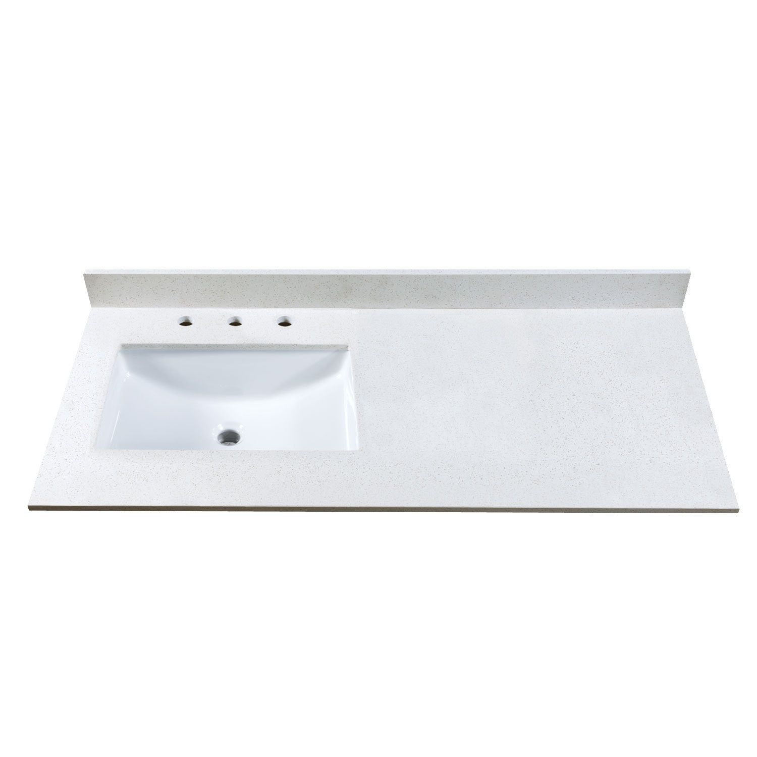 Maykke 49-inch Off White Quartz Countertop with 8-inch Widespread ...