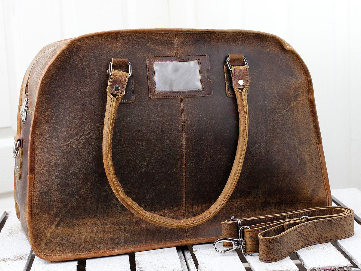 15ddd4a2fff6 Large Vintage Leather Travel Holdall Weekender