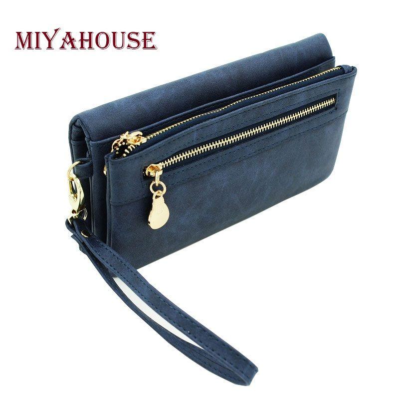 Wristlet Women Leather Zip Purse Clutch Bag Phone Wallet Wristlets Pouch DB
