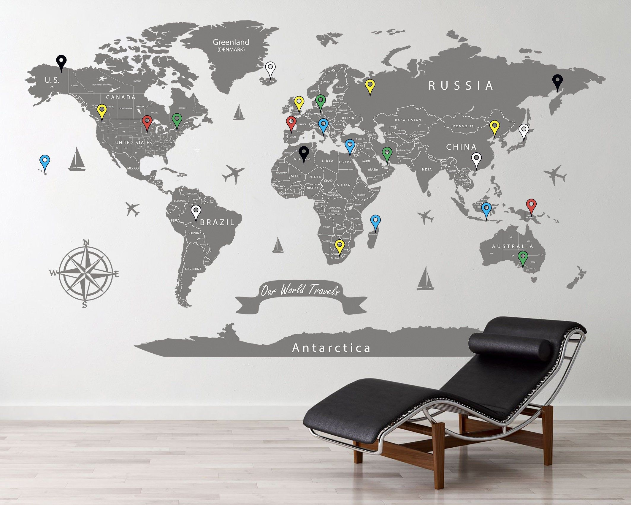 Extra Large World Map Decal Gray World Map Travel Map Decal Etsy World Map Decal World Map Wall Art Map Decal