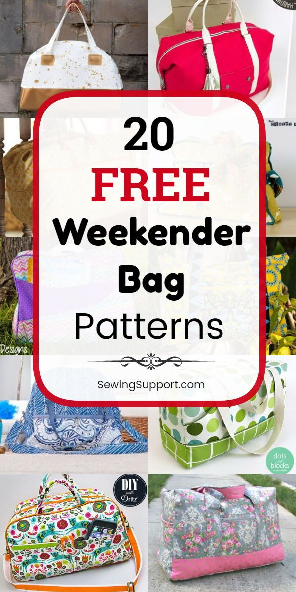 Bag Patterns to sew. Twenty free weekender bag sewing patterns, tutorials, and diy projects. Sew large overnight travel bags that can also make great duffle tote bags for school, sports, gym, or dance class. #SewingSupport #Bag #Pattern #Sewing #Diy #Weekender #bagpatterns