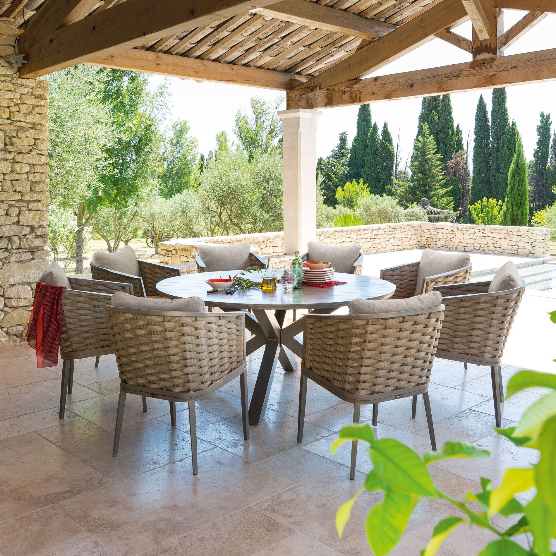 Table de jardin ronde aluminium Embruns - Noisette   WEEK ...