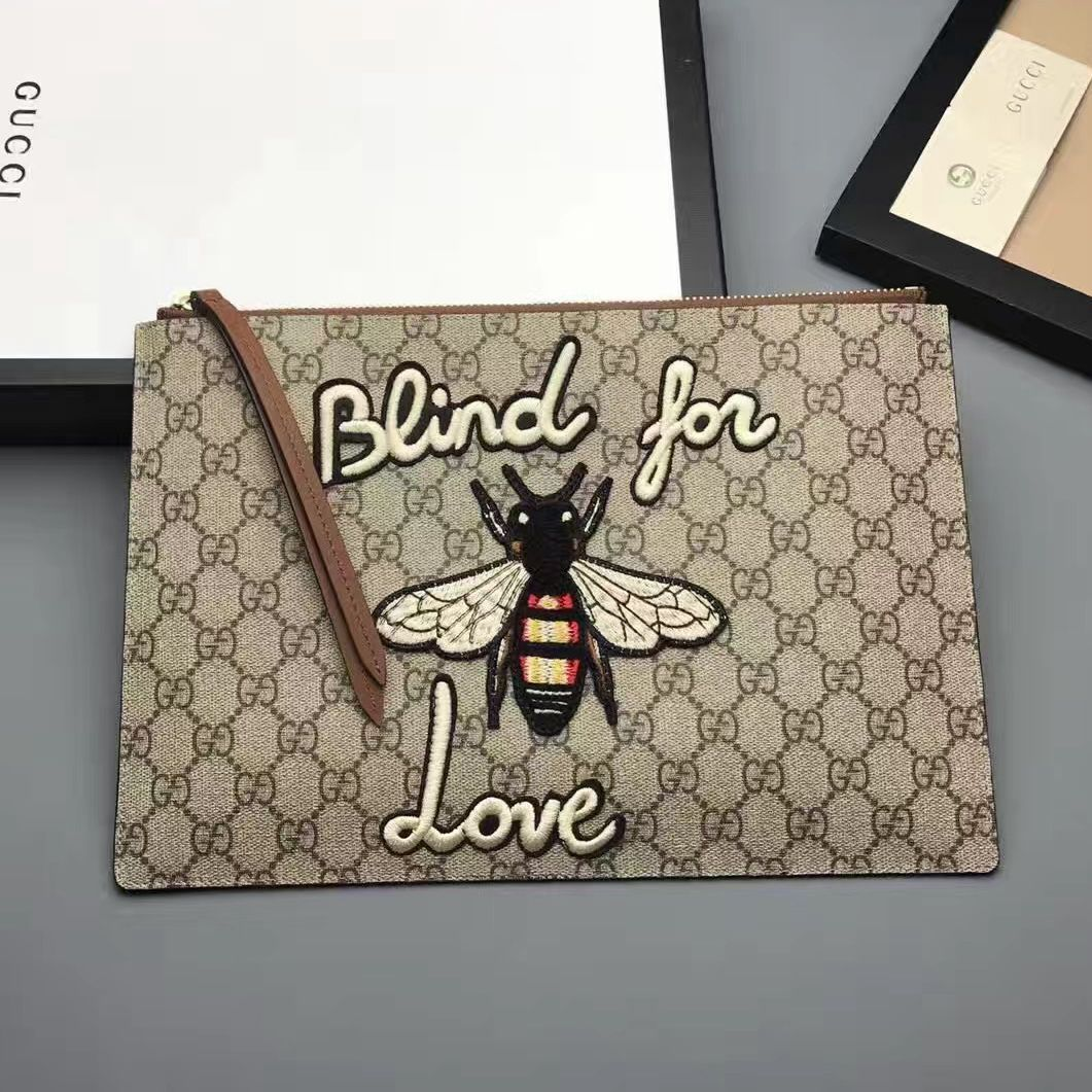 ac6c3ce44caf67 Gucci Embroidered Bee and Blind For Love Large Zipped Pouch Clutch Bag  431416 GG Supreme Brown 2017