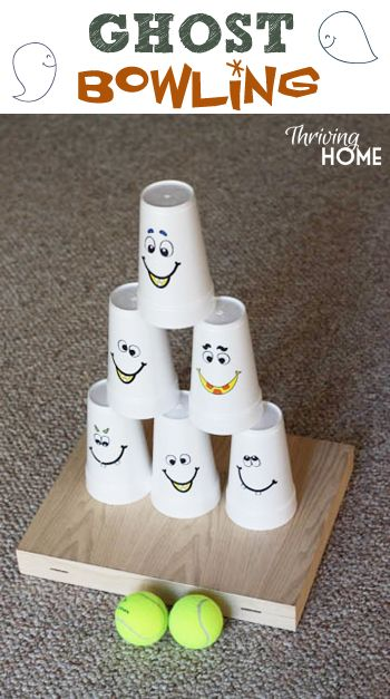 Fun Halloween party game--ghost bowling! Cheap and easy party idea - halloween ideas party