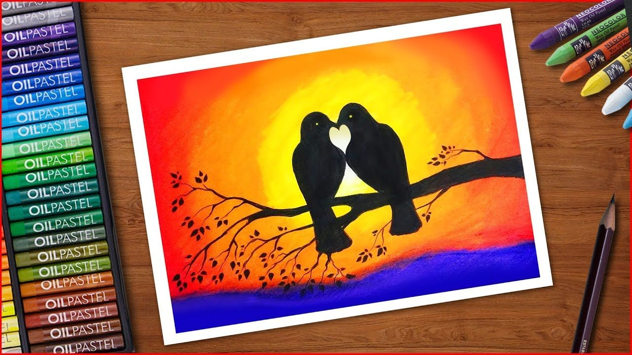 How To Draw Two Birds In Love Step By Step Very Easy Love Birds Drawing Bird Drawings Oil Pastel Art