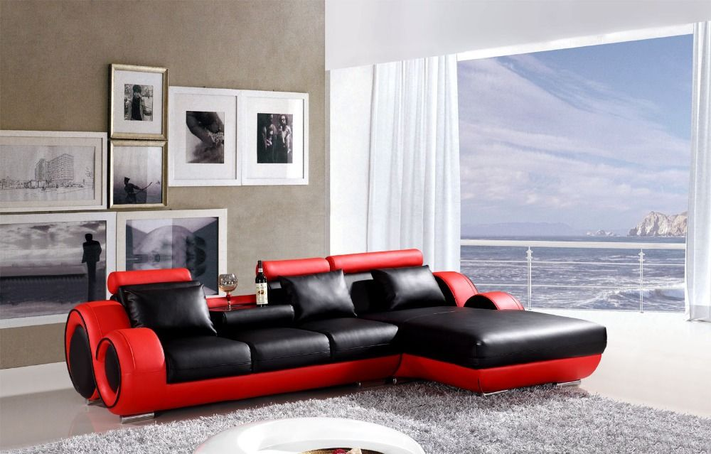 L Shape Reclining Sofa Set Modern Leather Couch 4085 Black Red Modern Leather Couch Modern Sofa Set Black And White Sofa