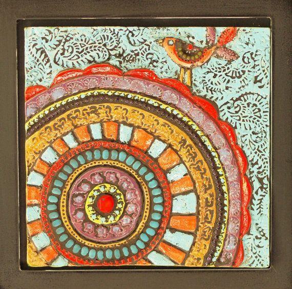 Raku Tiles Whimsical Mosaic Art Clay Tile Wall By Romyandclare