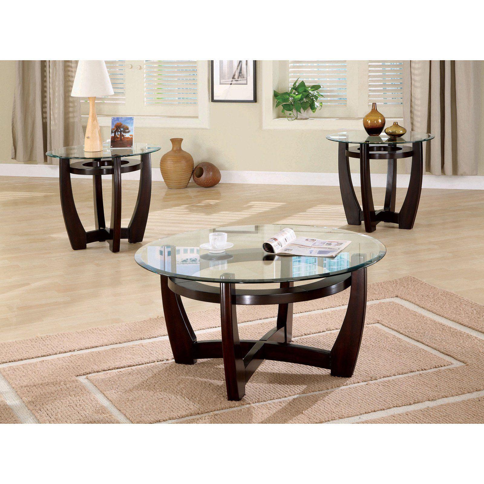 Coaster Furniture 3 Piece Glass Top Coffee Table Set Coffee