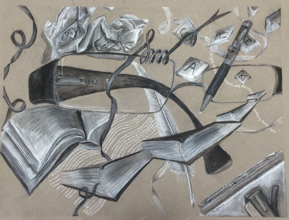 Literature themed montage done in charcoal