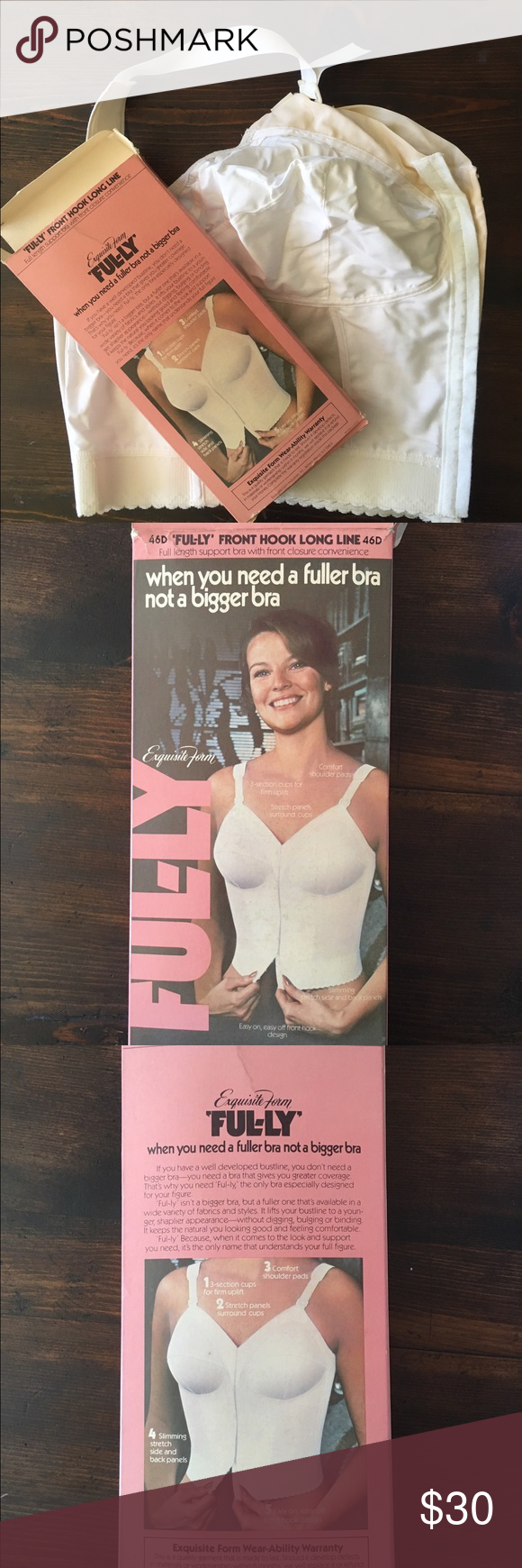 8cd9dd2f716 VTG 60 s Exquisite Form front hook longline Bra Vintage 60 s Exquisite Form  Ful-ly frint hook longline Bra New in box.   Size 46D  color white.