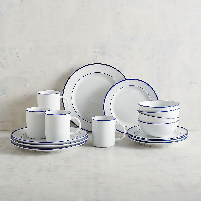 Classic blue rim 16piece dinnerware set farmhouse