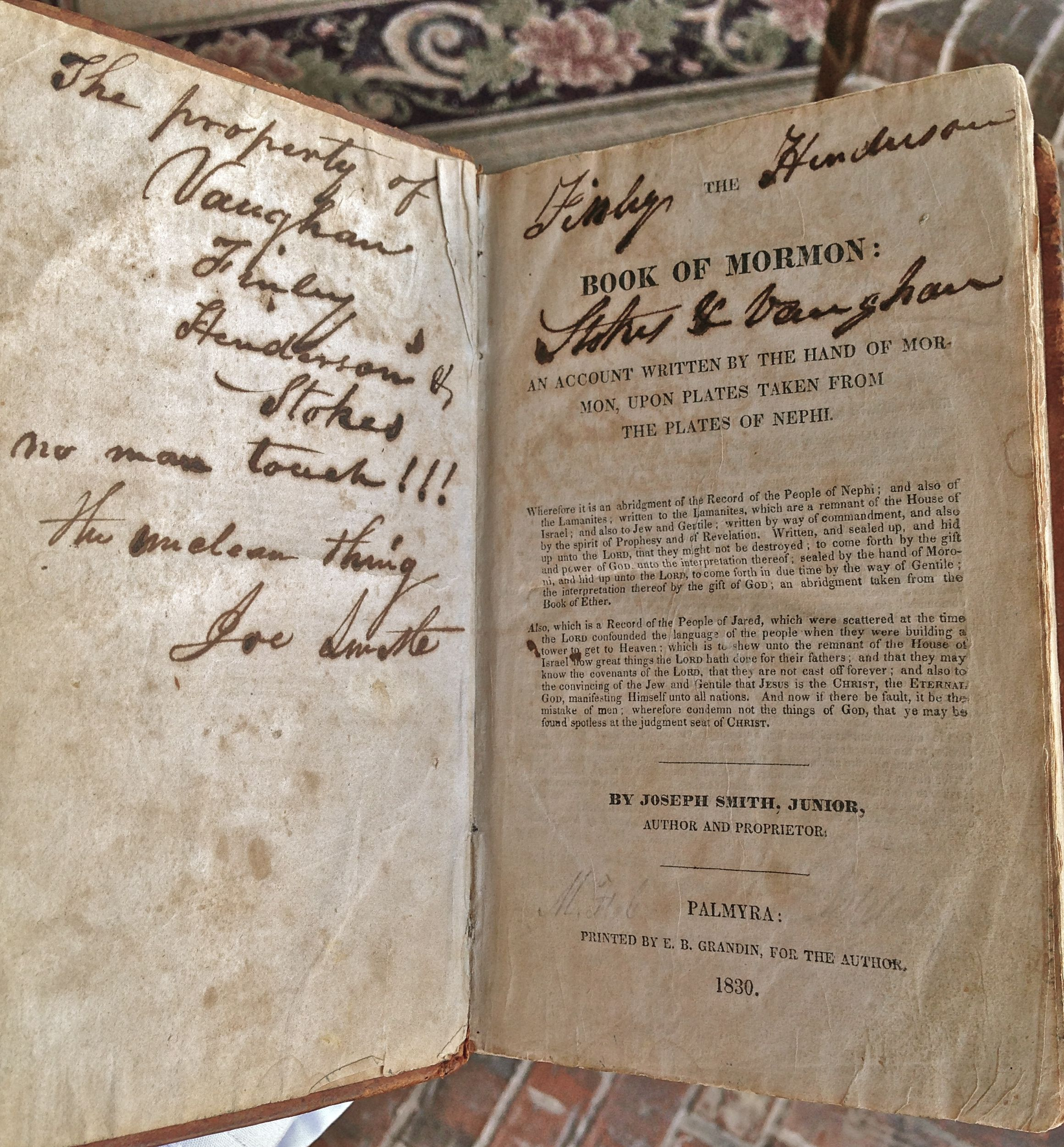 This Is An Original First Edition Book Of Mormon 1830 That Makes Reference To Joe Smith I Guess The Owner Wasn T A Fan Of Th Book Of Mormon Mormon Book G