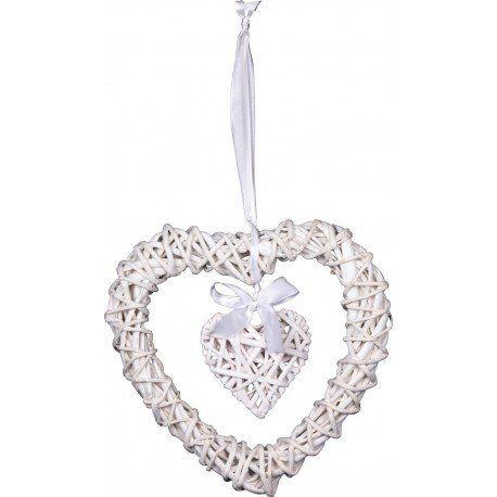 Photo of Säger 2 Willow Heart hvit 25 cm med et lite indre hjerte Vårmors dekorasjon for sommeren