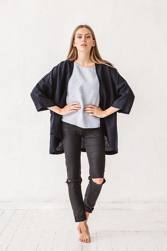 Linen kimono jacket, Black kimono jacket, Linen clothes, Linen