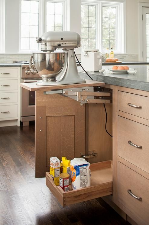 Fabulous Kitchen Features Wire Brushed Oak Cabinets Fitted With A Baking  Cabinet Fitted With A Lift Up Kitchen Mixer Shelf Topped With Pietra Cardou2026