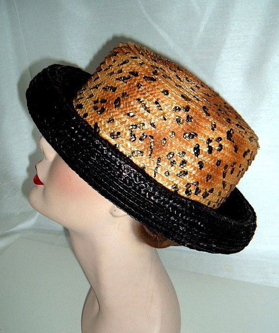 1eeac1d1f8b0c Vintage Ladies Straw Hat - Animal Print with Black Straw Brim ...