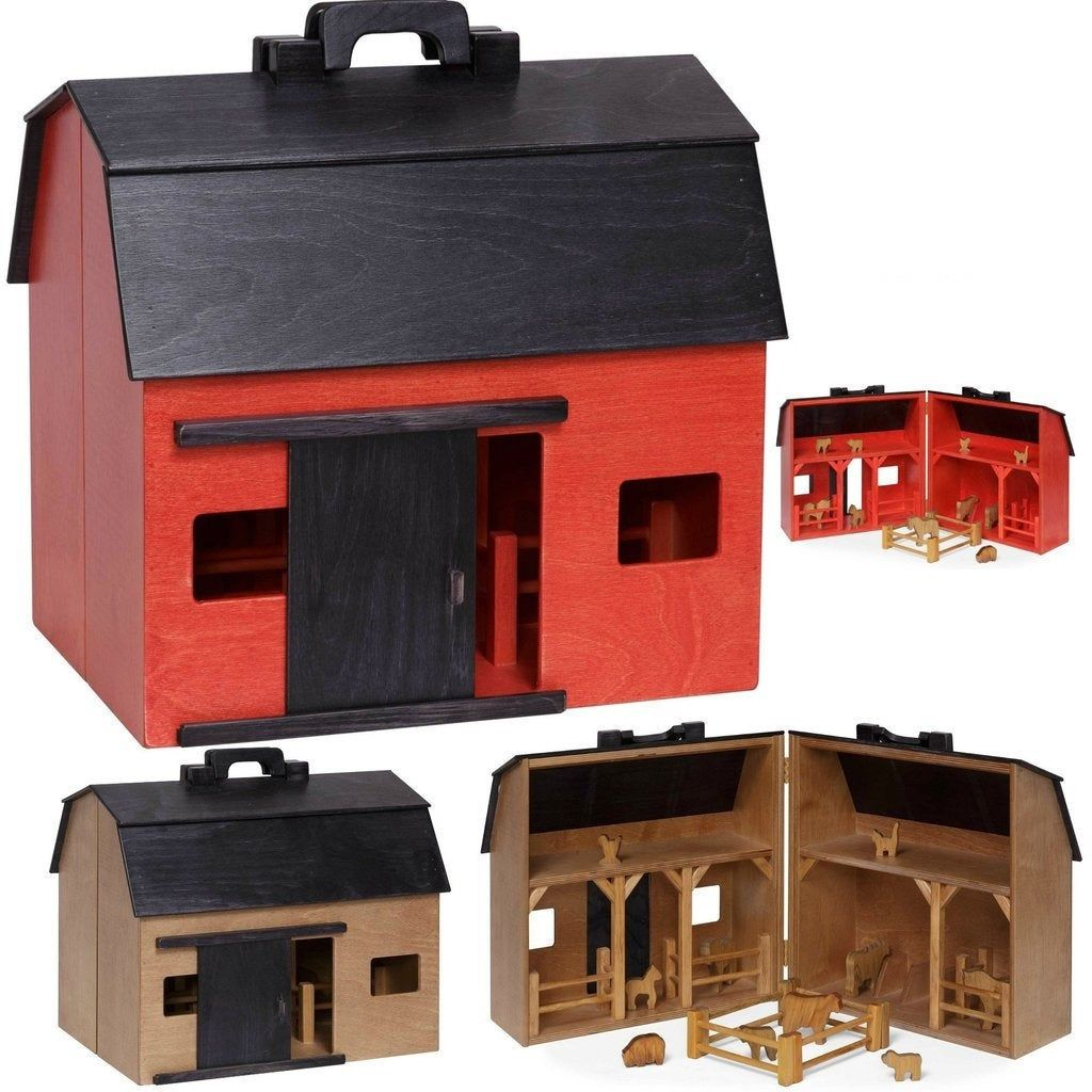 Folding Barn with Farm Animals and Fence - USA Handcrafted ...
