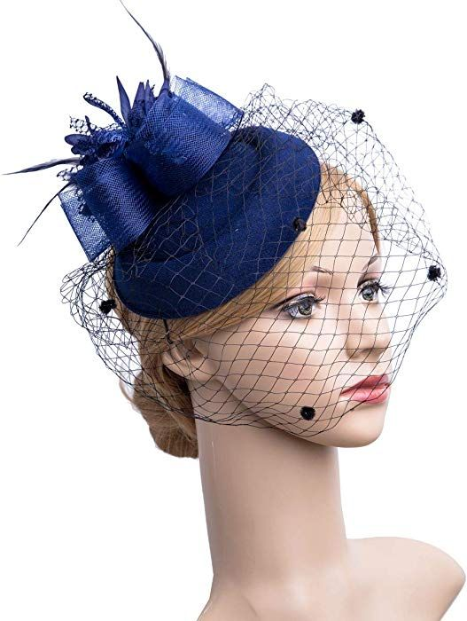 786f6af7895 Amazon.com  Cizoe Fascinator Hair Clip Pillbox Hat Bowler Feather Flower  Veil Wedding Party Hat Tea Hat(Navy)  Clothing
