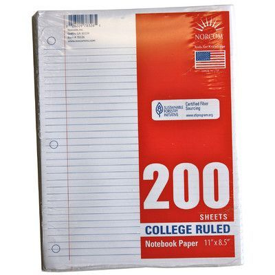 Norcom Inc 200 Count College Ruled Looseleaf Paper