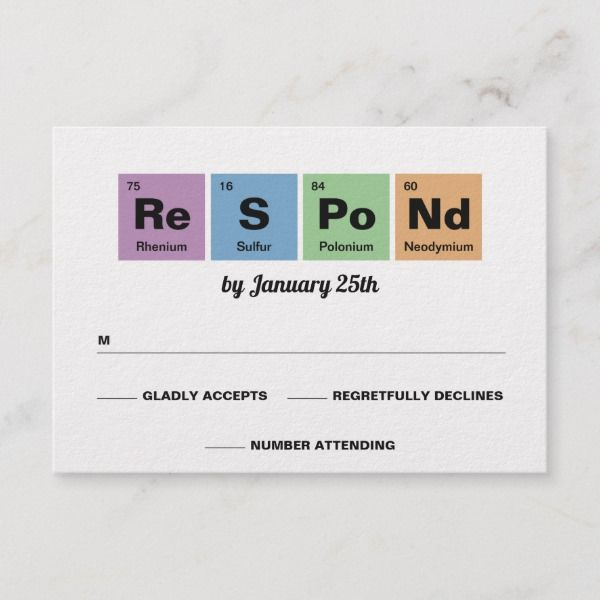 Periodic Table Of The Elements Wedding Rsvp Card Weddings