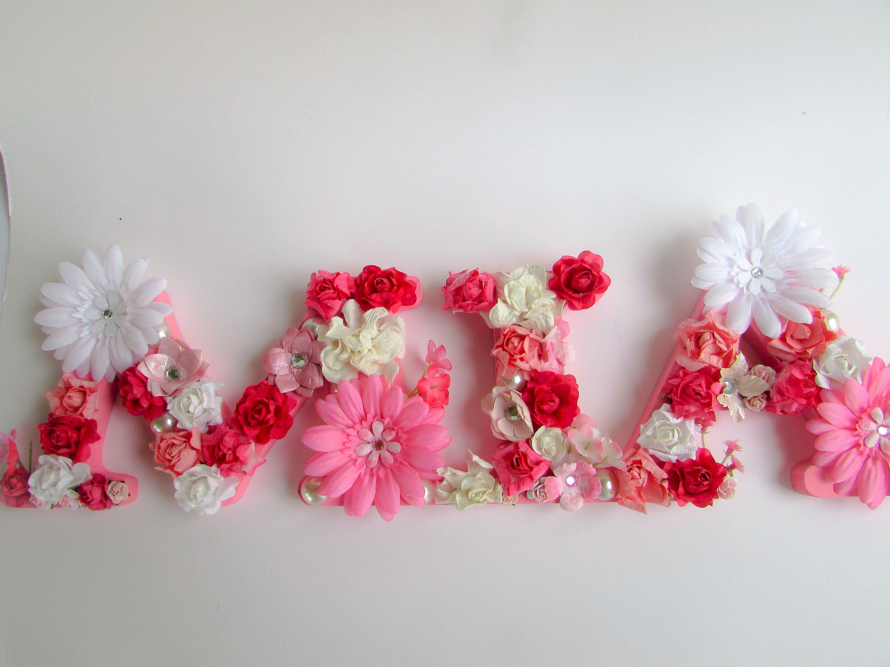 Custom Name Mia Floral Name Letters Personalized Name Pink