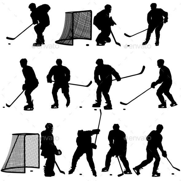 Set Of Silhouettes Of Hockey Player By Aarrows Set Of Silhouettes Of Hockey Player Isolated On White Vectorillustrations Hockey Players Hockey Hockey Nets