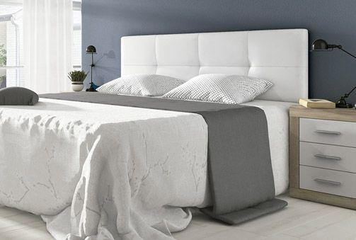 85€ Cabecero acolchado y tapizado en color blanco o gris grafito ...