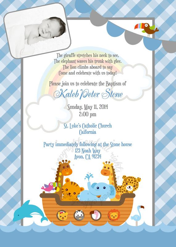 Noah's Ark Baptism or Baby Shower Invite Blue or by ckfireboots, $12.00