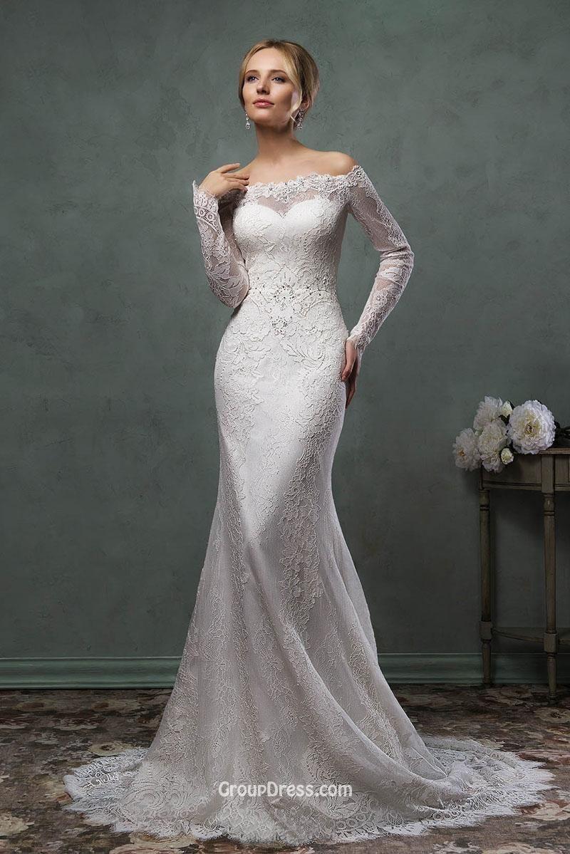 Destination mermaid offtheshoulder lace long sleeves wedding dress