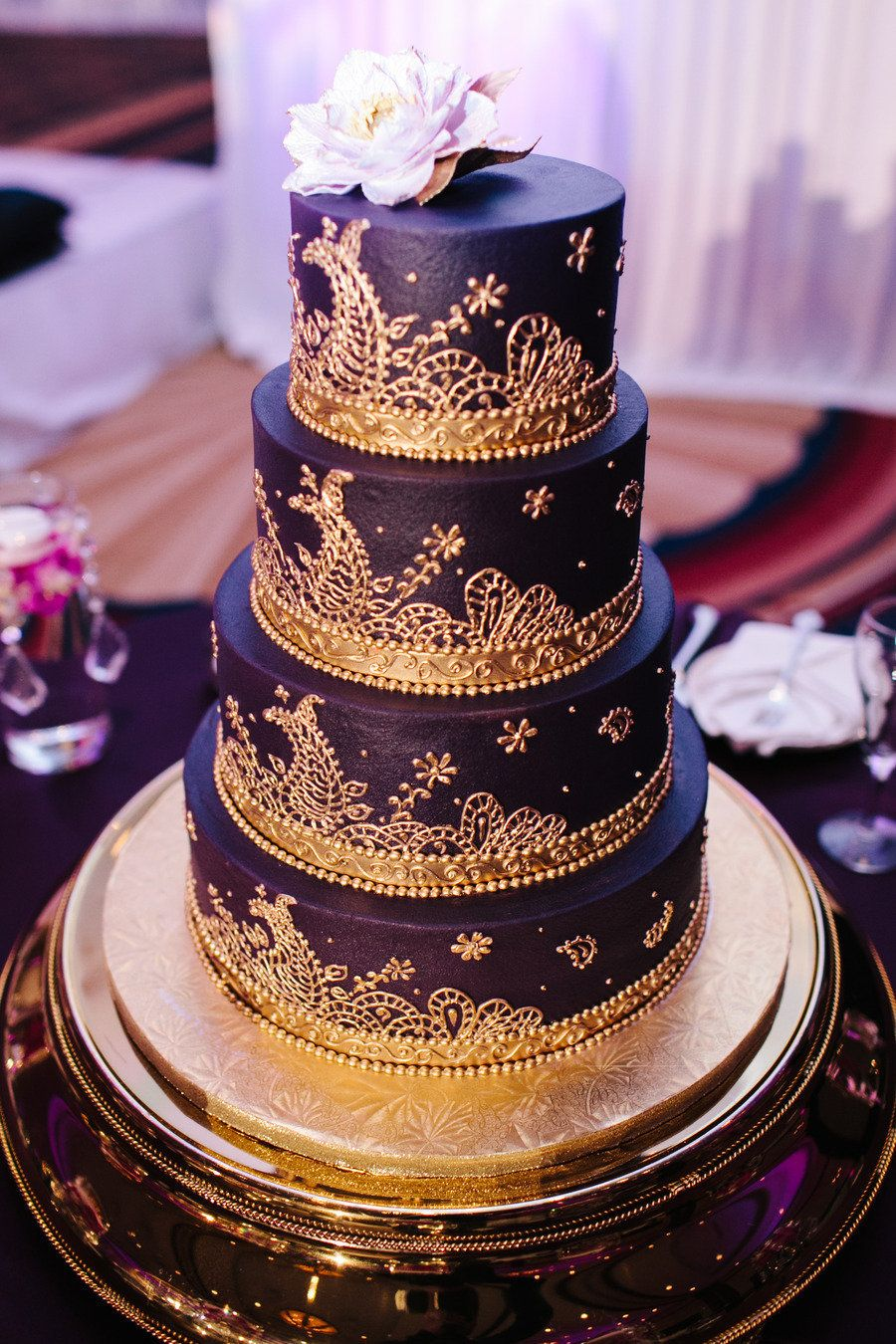 Cultural Indian Wedding From Shutter Life Productions Purple Gold Weddingsgold Cakesbollywood
