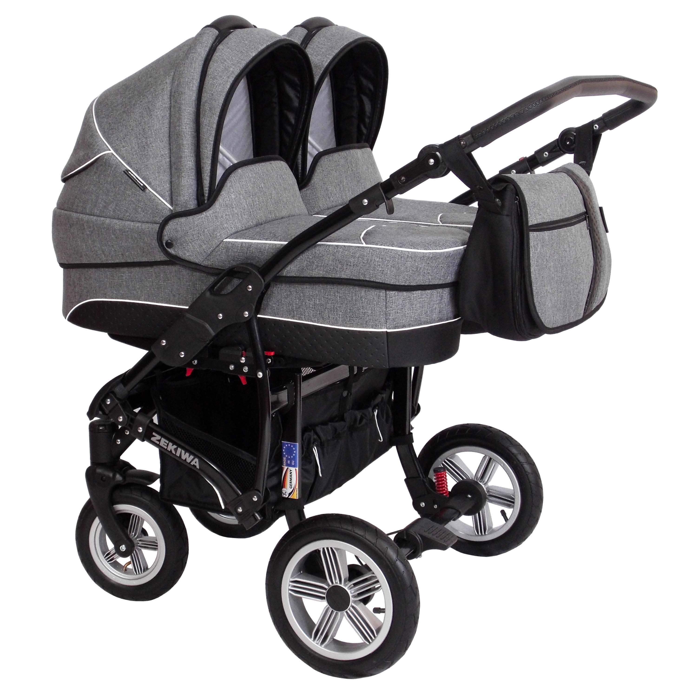 Zekiwa Zwillingskinderwagen Sport Duo New Line Dunkelgrau Twin Baby Girls Baby Trolley Double Baby Strollers