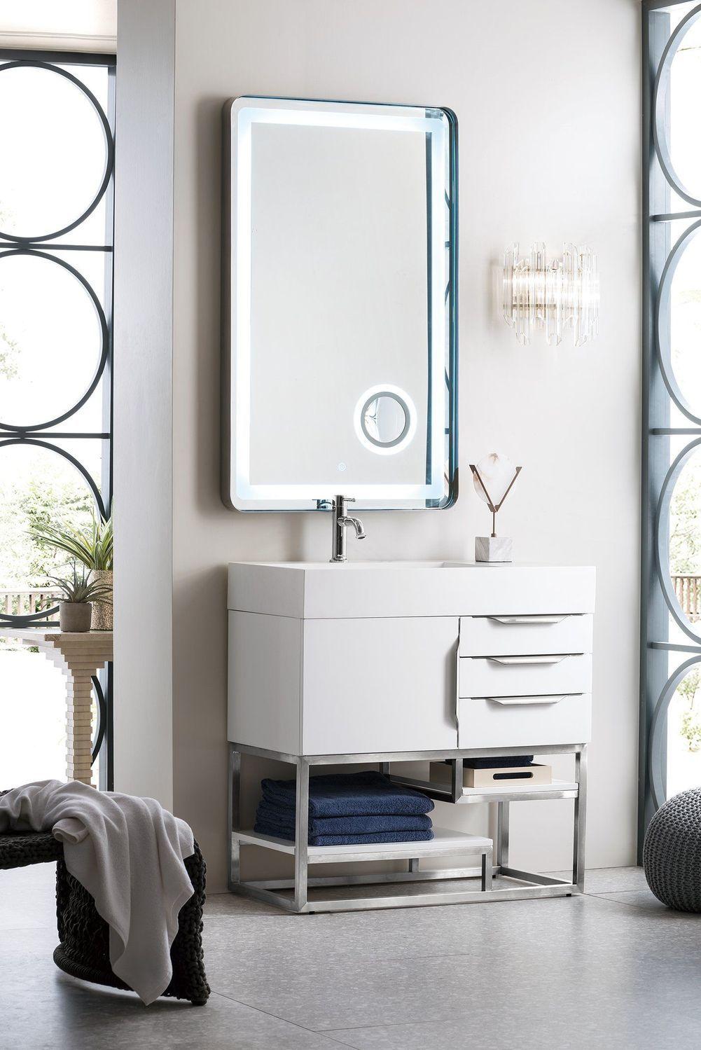 Photo of 36″ Columbia Single Bathroom Vanity, Glossy White