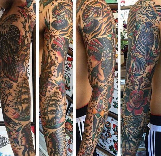 Top 59 Traditional Tattoo Sleeve Ideas 2020 Inspiration Guide Traditional Tattoo Sleeve Traditional Tattoo Sleeve Tattoos
