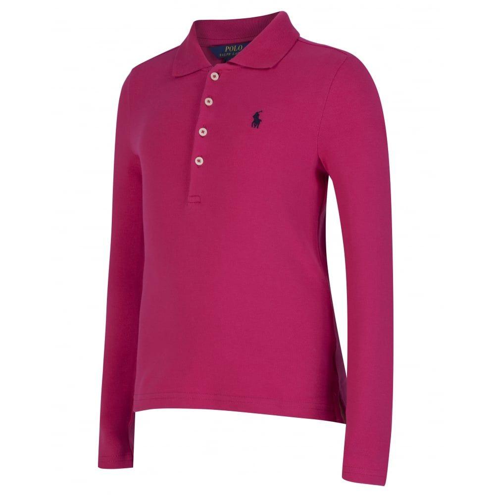 a357916c Ralph Lauren Girls Long Sleeve Pink Polo Shirt   Ralph Lauren   Polo ...