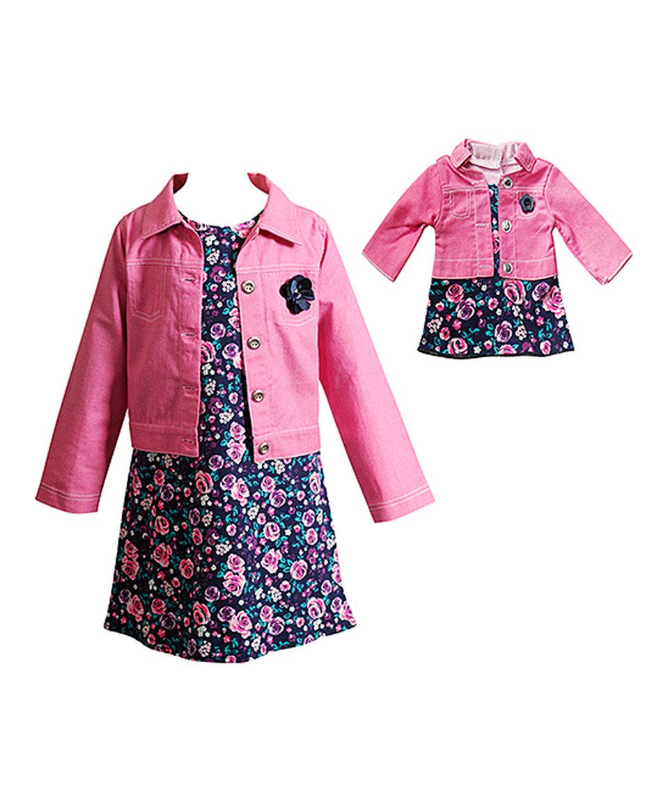Dollie /& Me Girl 4-14 and Doll Matching Pink Striped Dress Clothes American Girl