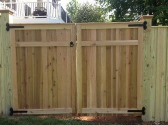 Flat Top Cedar Double Gate by Lions Fence Wood fence gate design