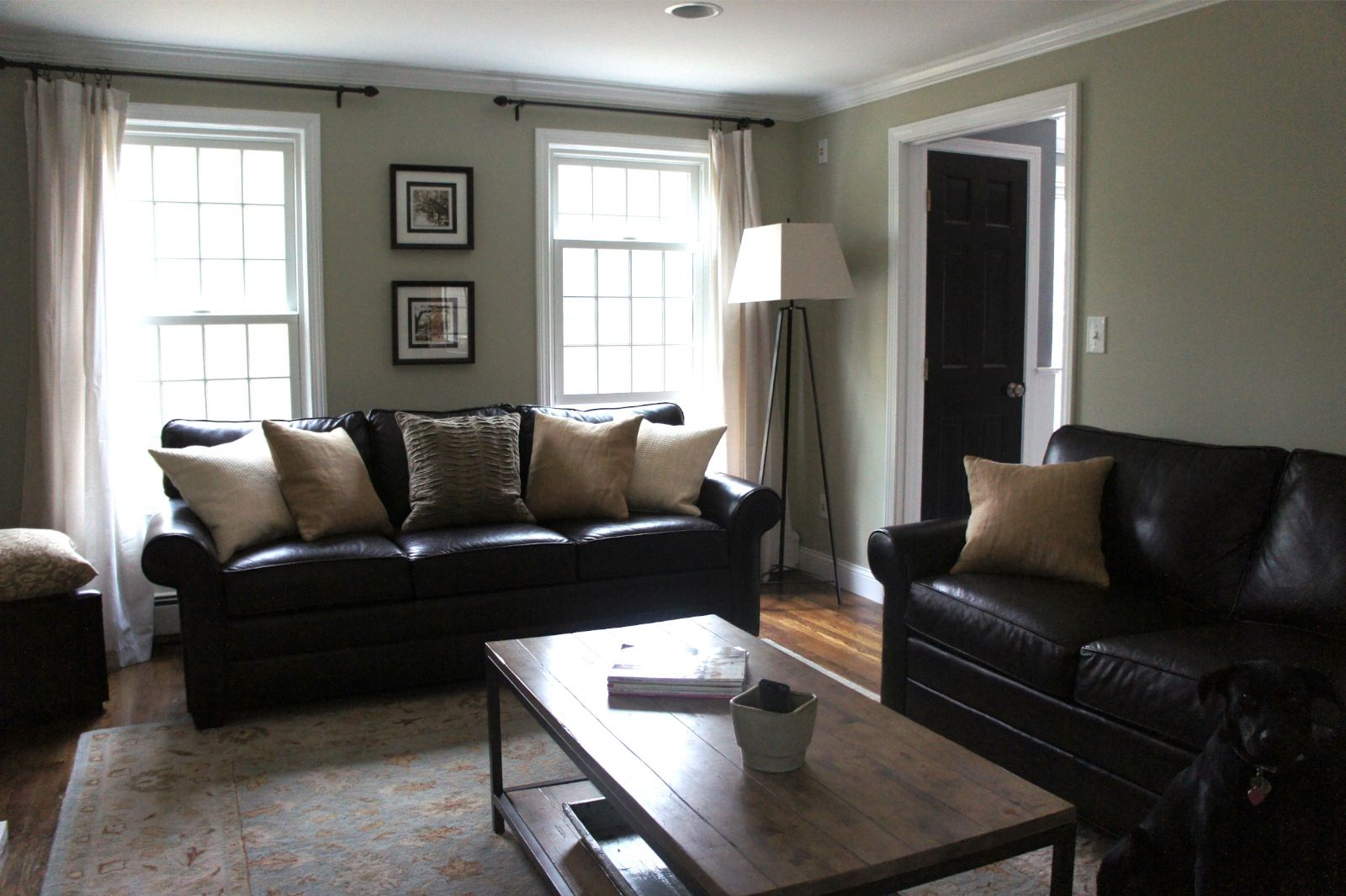 Home With Baxter   Living Room Leather Couches, Simple/neutral Throw  Pillows, Dropcloth Curtains, Metal/wood Coffee Table
