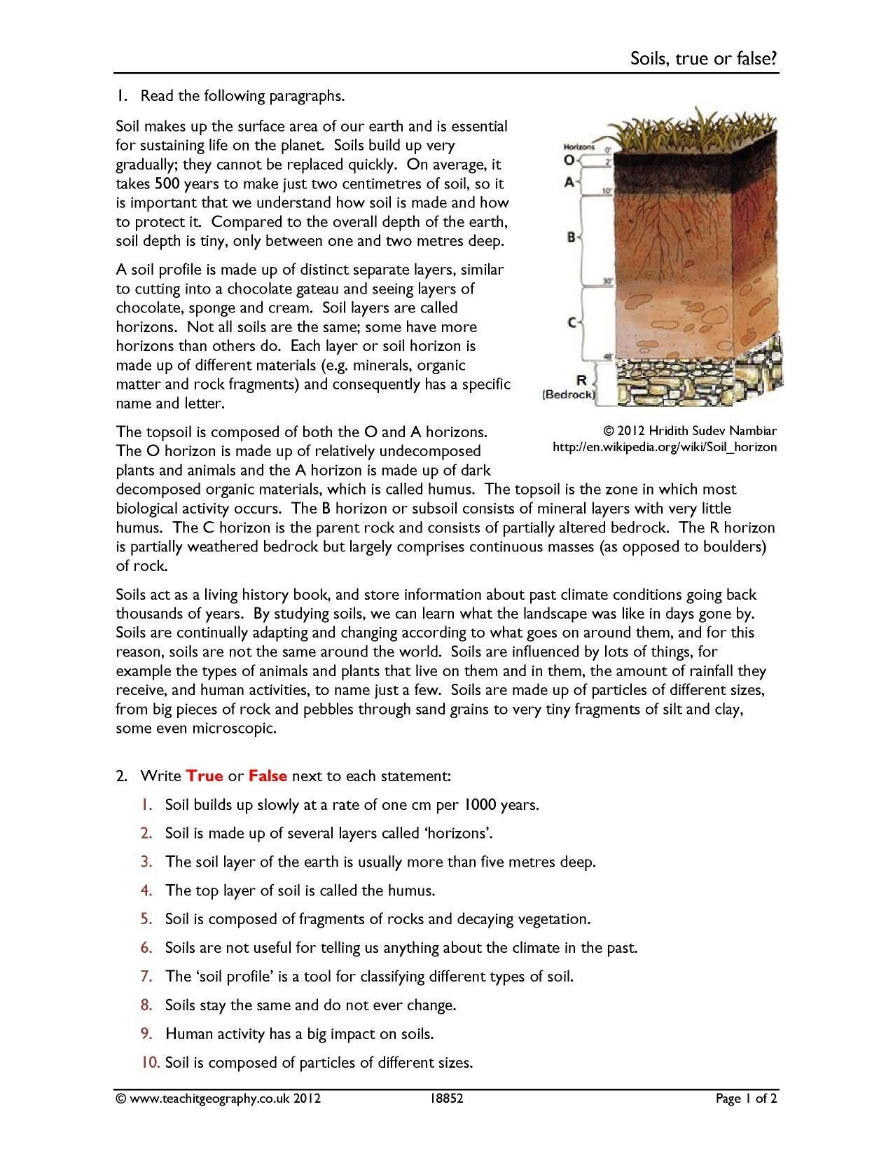 Answers Soil Formation Worksheet - worksheet