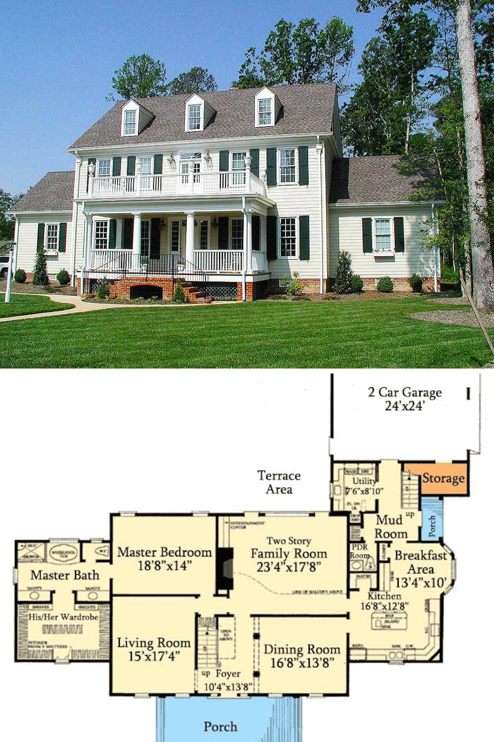 Two Story 4 Bedroom Colonial Home Floor Plan Colonial House Colonial House Plans Mansion Floor Plan