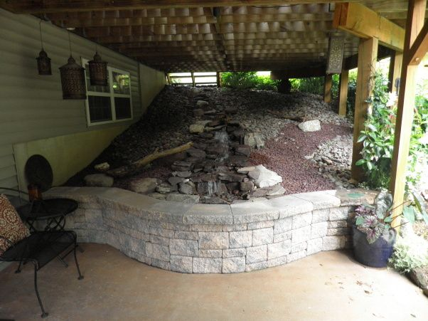 Bohemian Inspired Patio, Soycrete Stained Patio With Water Feature Under  Deck