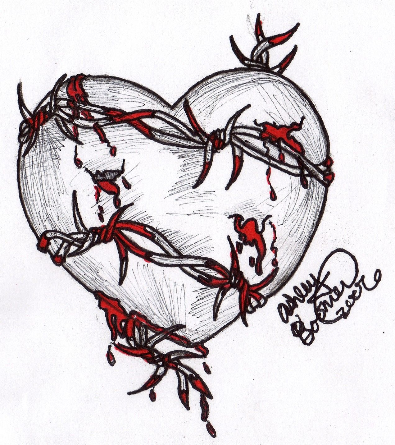 Heart Sketches | barbed wire heart by boomboom34 traditional art ...