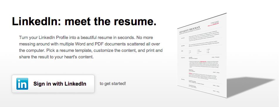 resume builder from linkedin