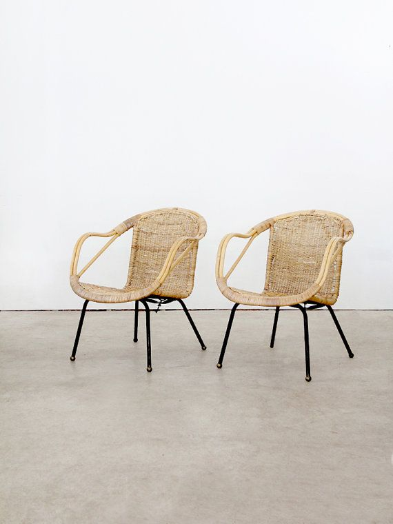 Mid Century Basket Chairs 1960s Bucket Seat Woven Chairs