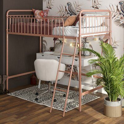 Download Viv + Rae Angelita Twin Loft Bed Bed Frame Colour: Rose Gold in 2021 | Loft bed frame, Twin loft ...