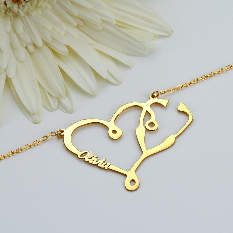 Custom Stethoscope Necklace Custom Gift For Doctors Gift For Etsy 14k Gold Filled Jewelry Stethoscope Necklaces Gold Filled Jewelry