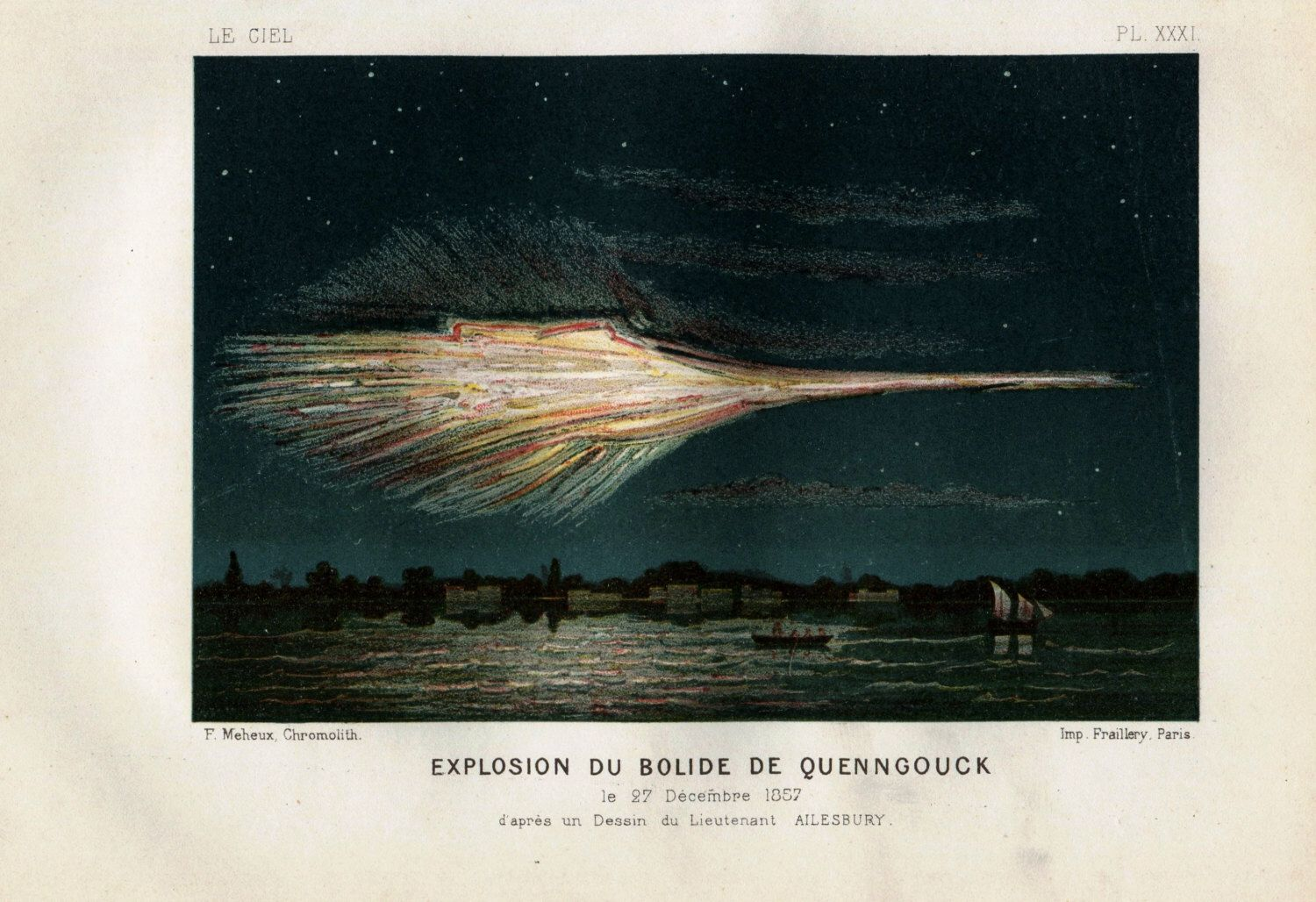 1877 Rare Antique ASTRONOMY meteor print, explosion of a bolide in Quenngouck, Indes,
