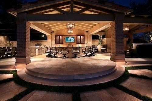 Different View Of Circular Bar Separate Sitting Area On Right And Grill On Left Contemporary Patio Outdoor Living Areas Outdoor Kitchen