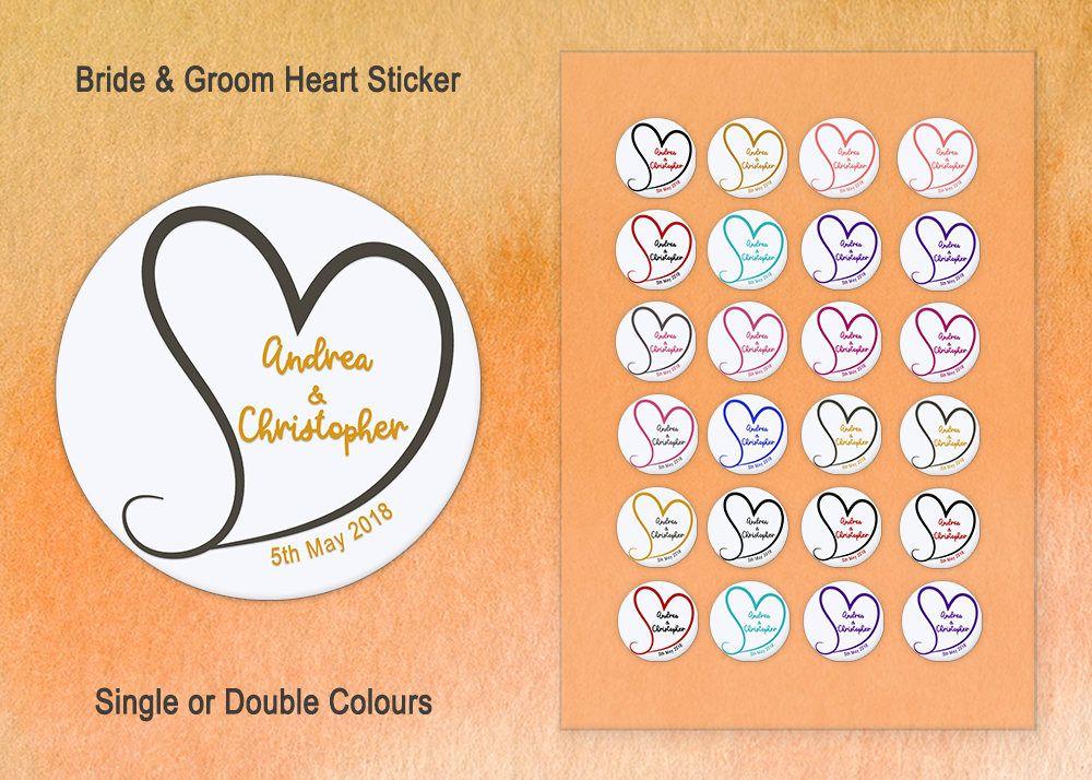 Custom wedding sticker personalised heart sticker wedding heart label couples name sticker wedding favour label envelope seal