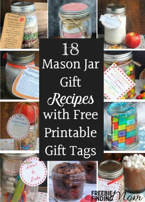 18 Mason Jar Gift Recipes With Free Printable Gift Tags Mason Jar Gifts Recipes Jar Gifts Mason Jar Gifts