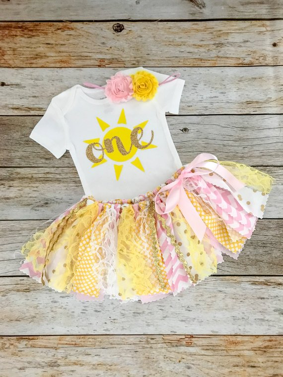 You Are My Sunshine First Birthday Outfit with Headband/Pink and Yellow Cake Smash Outfit, Baby Girl Birthday Outfit #birthdayoutfit